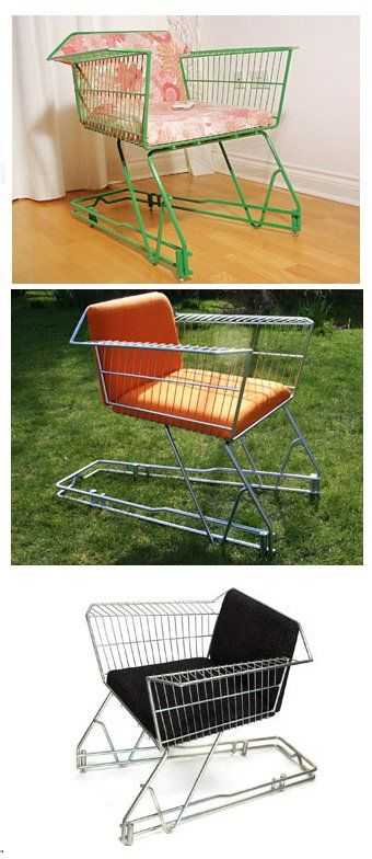 More recycling for my sister...Grocery Cart-Chair Recycling...to go with the grocery card lawn chair.