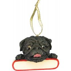 Black pug ornament. Save 15% now. All proceeds benefit Pug Rescue Network.