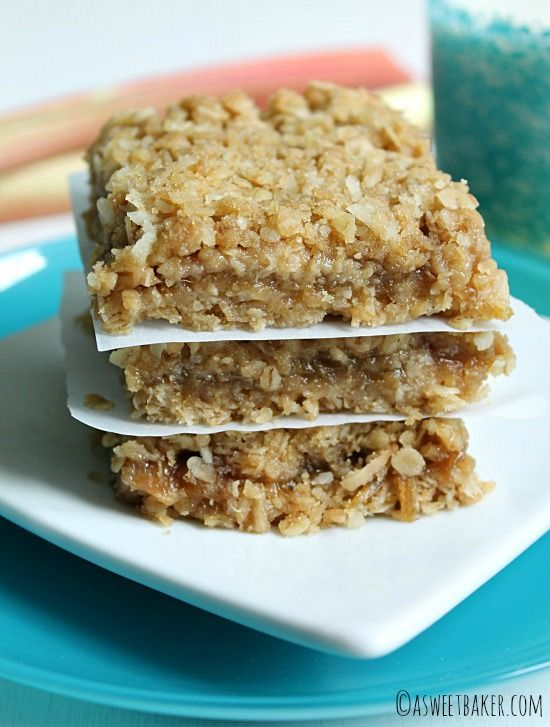 Rhubarb Crumble Bars are fabulous spring treat! by asweetbaker.com on www.whatscookingwithruthie.com #recipes #dessert
