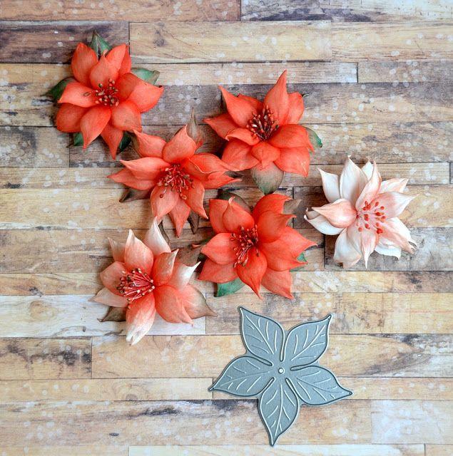 Blog Craft Passion: Wykrojnik gwiazda betlejemska trochę inaczej :) / Dies Poinsettia Flowers a little differently