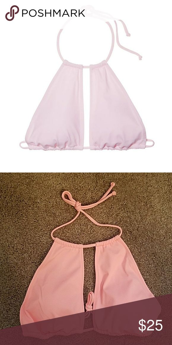 PINK Keyhole Swimsuit Top Size M A super cute swimsuit top that ties in the back! THE SECOND PICTURE IS THE CORRECT ONE (I wasn't able to take a good cover photo) This top is peach! PINK Victoria's Secret Swim Bikinis