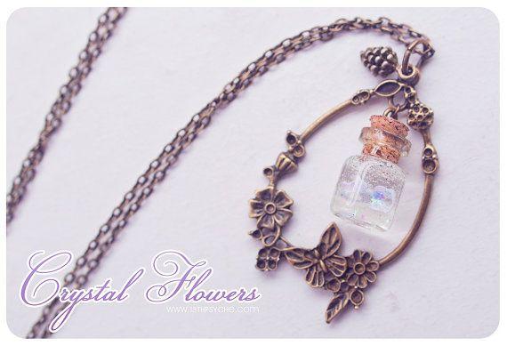 Crystal flower glass Bottle Necklace. Mini Glass Vial necklace. miniature Bottle Pendant Cute necklace flower necklace fairytale on Etsy, $15.22