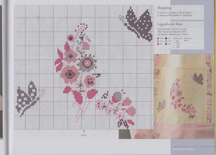 Free butterflies and flowers cross stich pattern