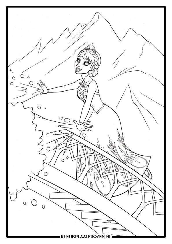 Kleurplaat Van Elsa Uit Frozen Frozen Coloring Pages Pinterest