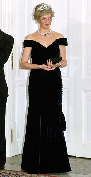 1987   Victor Edelstein based this navy velvet column gown on Edwardian evening designs. The princess famously wore it for a spin on the White House dance floor with John Travolta.