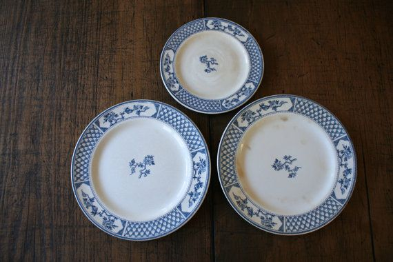 Blue and White China Plates Johnson Bros 'The by FoundByHer