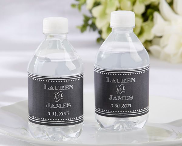 Chalkboard-themed water bottle labels are the perfect wedding addition for anyone who loves the nostalgia of the old school days.