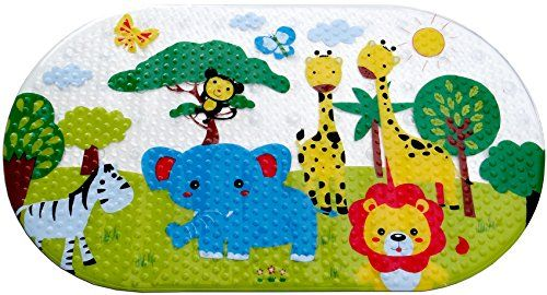 Salinka — Anti Slip Baby Bath Mat — Non slip mat — Many Suction Cups — Durable Mildew Mold Resistant PVC — Colorful Design — Handy Bag for Easy Transport — Free Ebook |