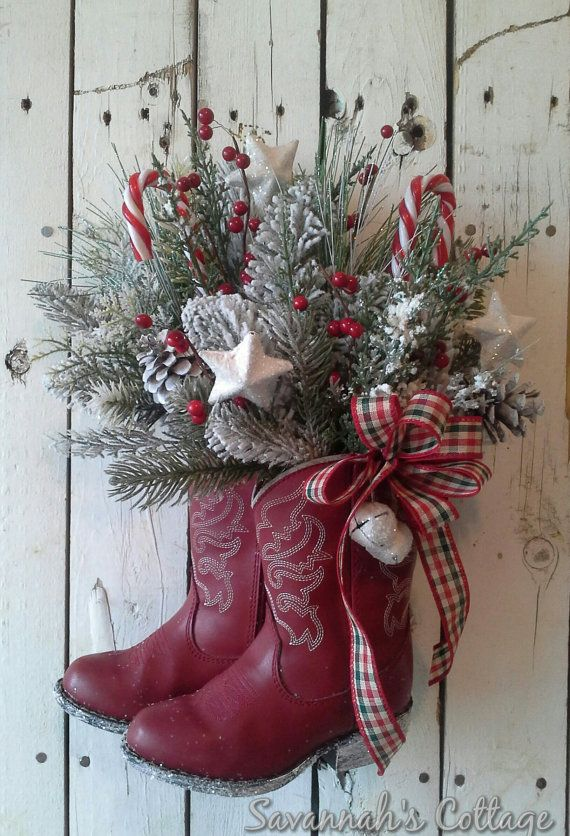 RESERVED SALE Christmas Arrangement, Cowboy boot, Holiday Floral, Door decor, Wall decor, Table Decoration, Country Christmas,