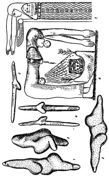 Женские скульптурные изображения древнекаменного века, которые при горизонтальной ориентации выглядят как двуконечные фаллосы (1, 2 — из Савиньява; 4, 5 — из Долни Вестонице); 3 — гинандроморфная скульптура из Тюрсак; 6, 7 — богиня Неба Нут с фаллосовидным телом.