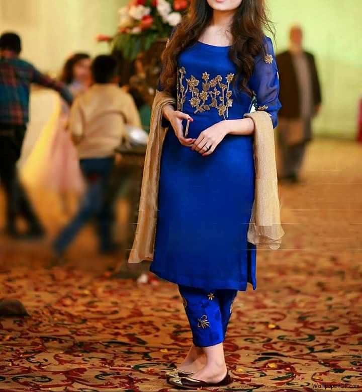 Image for Cute Girl in Blue Dress Without face Dp for Girls