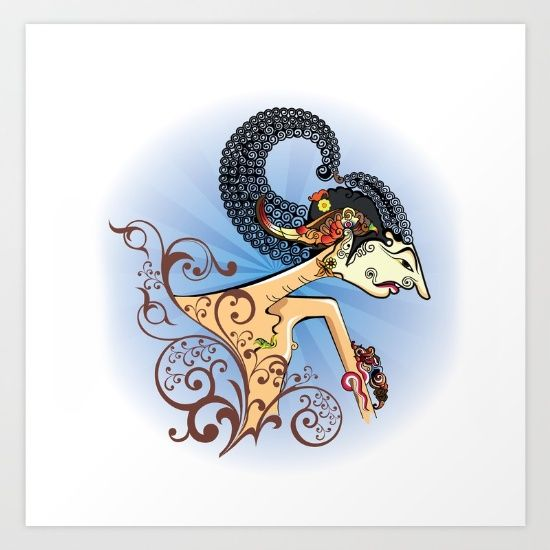 Wayang or shadow puppets Art Print