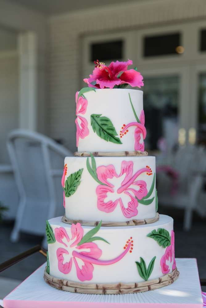 Stunning cake at a flamingo bridal shower party! See more party planning ideas at CatchMyParty.com!