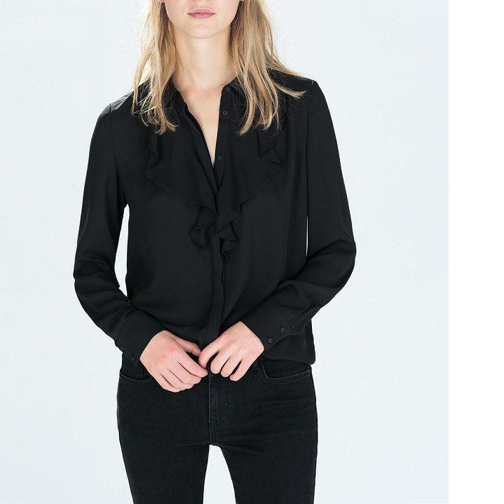 Топ дизайн женщины стильный блузки с длинным рукавом тонкий блузка оборками оформлен элегантная блузка дикий тонкий сладкий блузка топы CE-A22