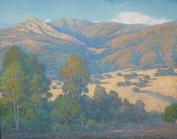 """""""Summer Days at the Foot of La Cumbre, Santa Barbara,"""" William Louis Otte, 1922, pastel on paper, 22 x 28"""", private collection."""