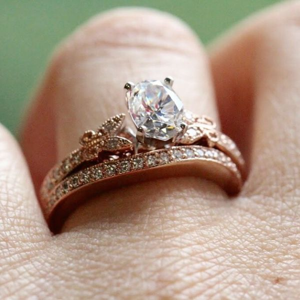 charisma butterfly wedding set - Rose Gold Wedding Ring Set