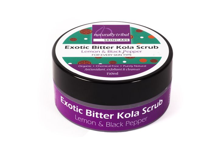 NATURALLY TRIBAL'S EXOTIC BITTER KOLA BODY SCRUB cleanses and removes dead skin to rejuvenate, smooth, protect and create glowing, healthy skin.