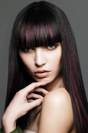 Straight bangs on brunettes with highlights