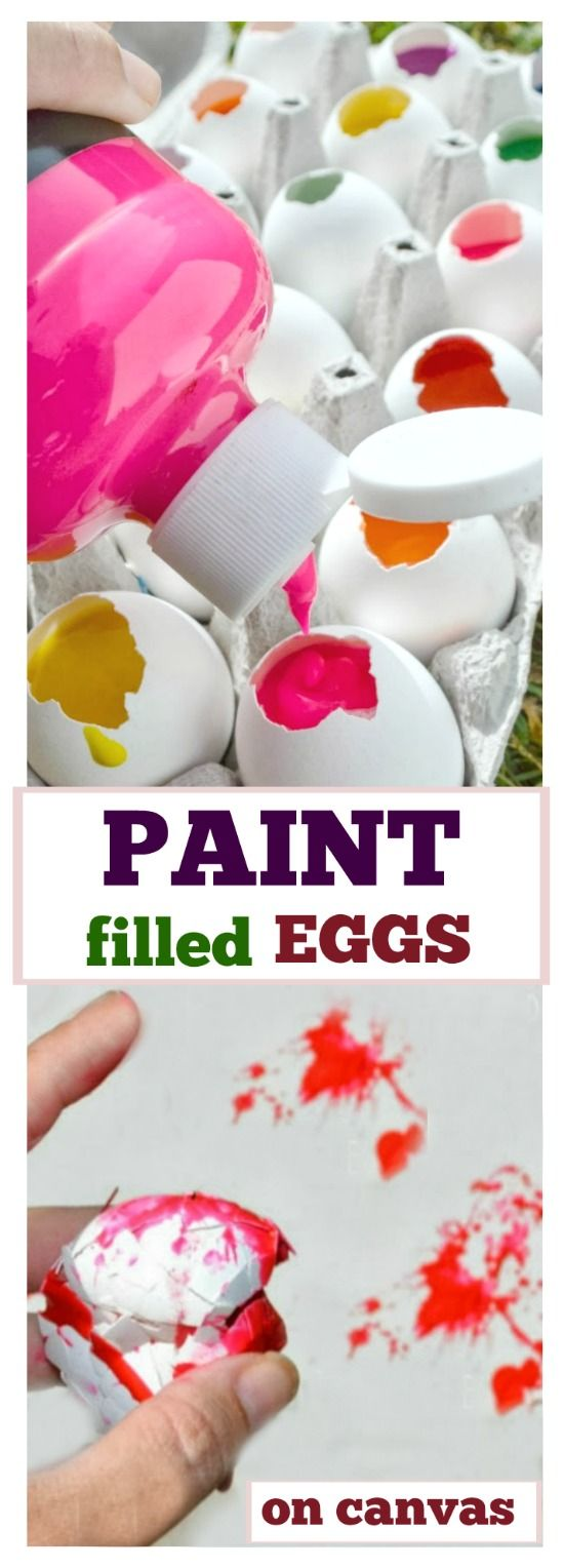 EPIC KID ACTIVITY:  TOSS PAINT EGGS AT CANVAS. SO FUN!!