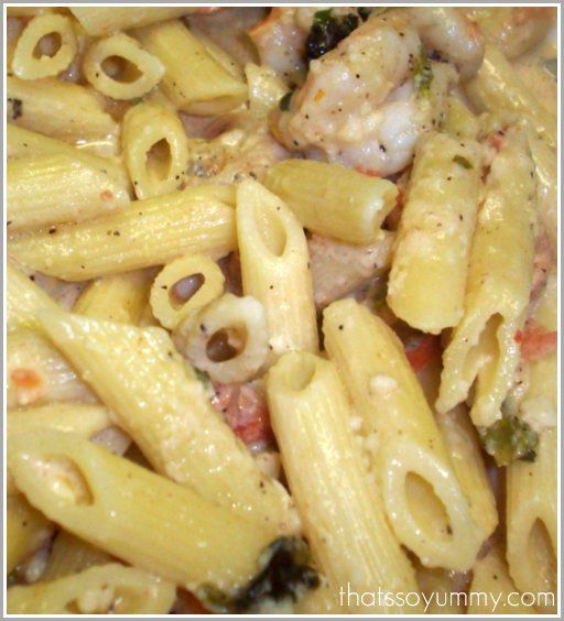 Penne with Shrimp and Herbed Cream Sauce.I am always looking for a easy, quick pasta recipe I can make at a spur of a moment.  I stumbled upon this recipe while watching Giada at Home.