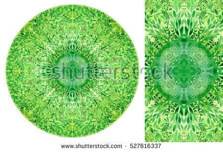 Watercolor mandala with leaves