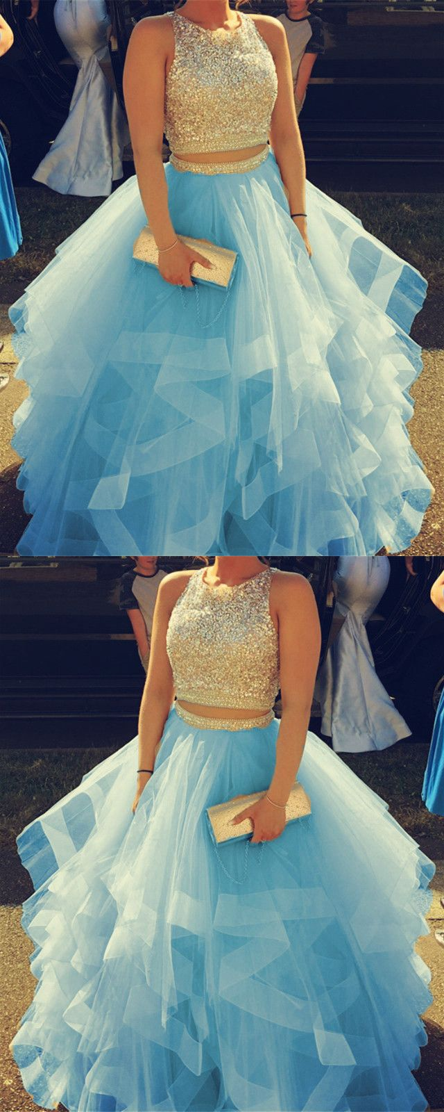 Sparkly Sequins Beaded Organza Layered Ball Gowns Prom Dresses Two Piece