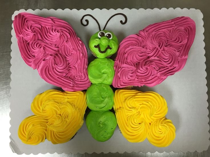Butterfly cupcake cake made with 24 cupcakes and buttercream icing by Laurie Grissom