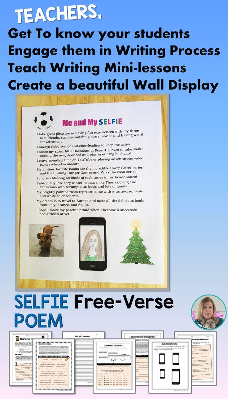 Back to School Beginning of Year Writing - SELFIE Free Verse Poem 5-8