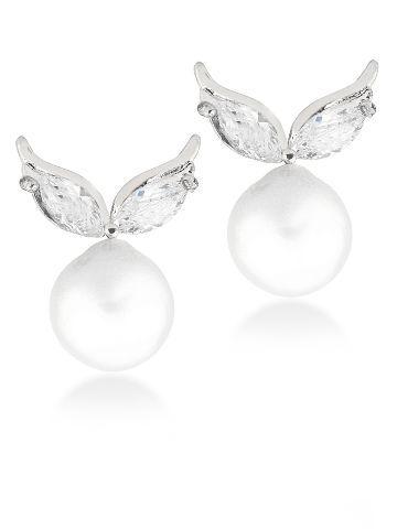 18K White Gold Plated Cz Diamond Pearl Earring For Women