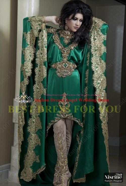 Green Appliqued Kaftan India Fashion Arabic Cheap evening dress Kaftan Arabic Dubai Special Occasion Dresses 2014 Free Shipping $8024,92