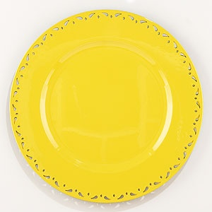 bright yellow metal chargers!! I prefer chargers to placemats because they are so easy to clean.