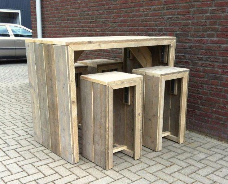 gebruikt steigerhout bar tafel met bar kruk