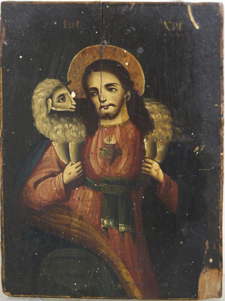 """Старинная Икона """"Добрый пастырь"""" Вторая половина XIXв.,"""