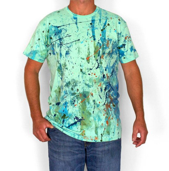 DREAM GREEN. 100% cotton T shirt. Hand painted. Mint by Smukie