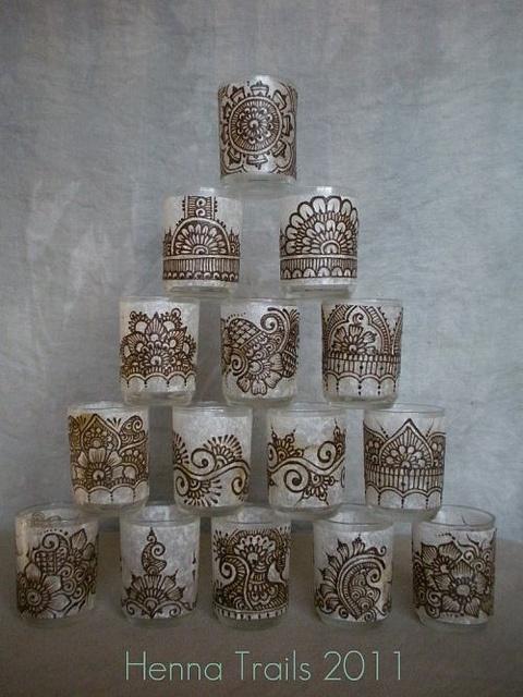 glass henna votives, mehndi inspired by Henna Trails 2011