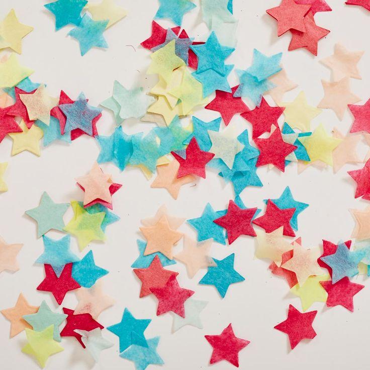 Colourful star shaped wedding confetti