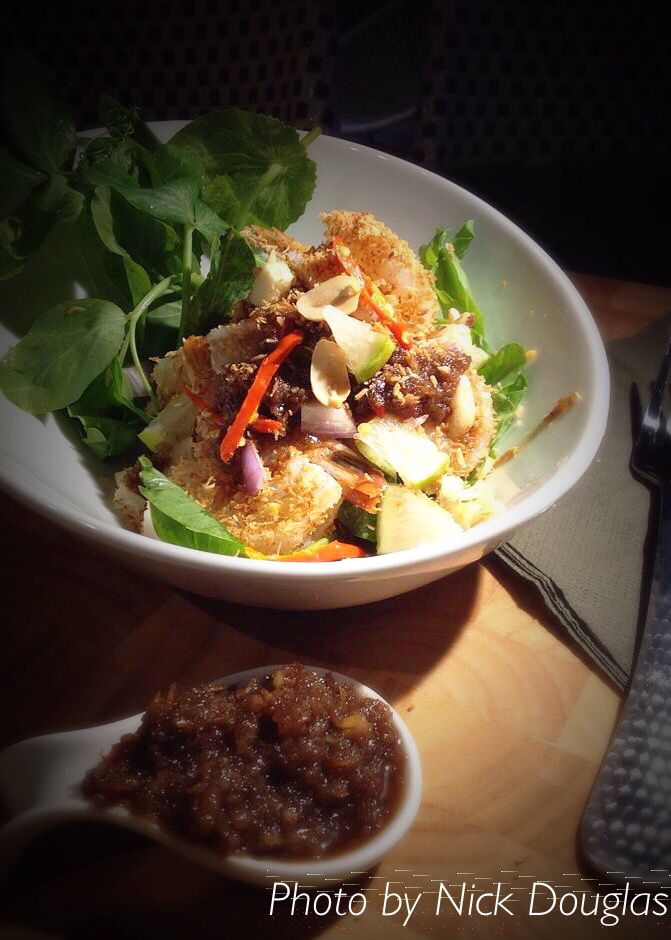 Prawns salad wth coconut , lime and ginger sauce