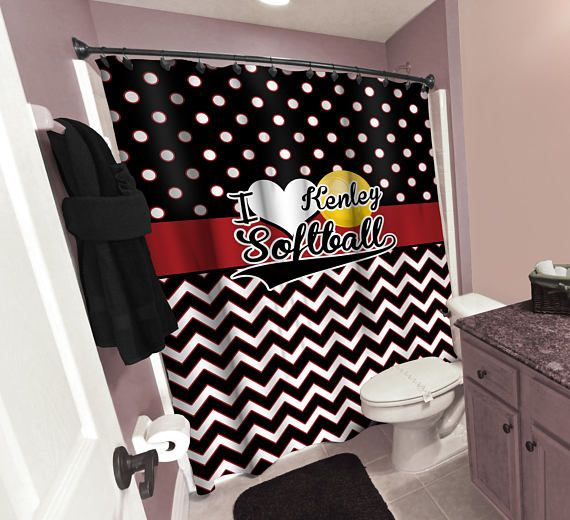 Personalized Softball Shower Curtain, Red Black Polka Dots Shower Curtain, Black and Red Chevron Shower Curtain, Custom Softball Bath Decor