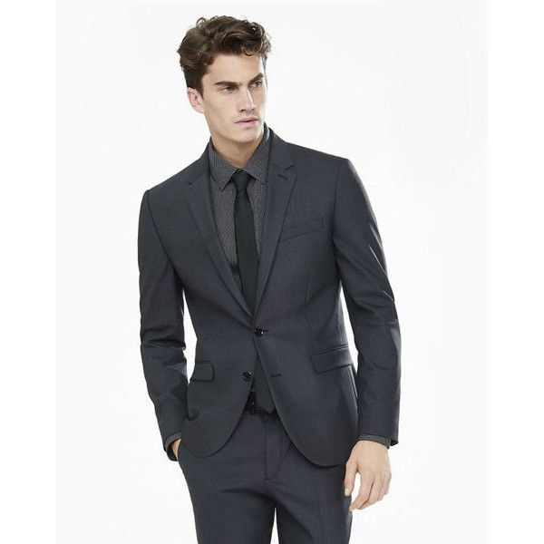 Express Dark Gray End-on-end Innovator Suit Jacket ($298) ❤ liked on Polyvore featuring men's fashion, men's clothing, men's suits, grey, mens clothing, mens gray suit, mens suits, express mens suits and slim fit mens clothing