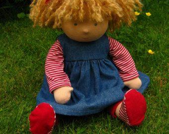 Waldorf doll 16 brown hair Flora Made to by Waldorfdollshop