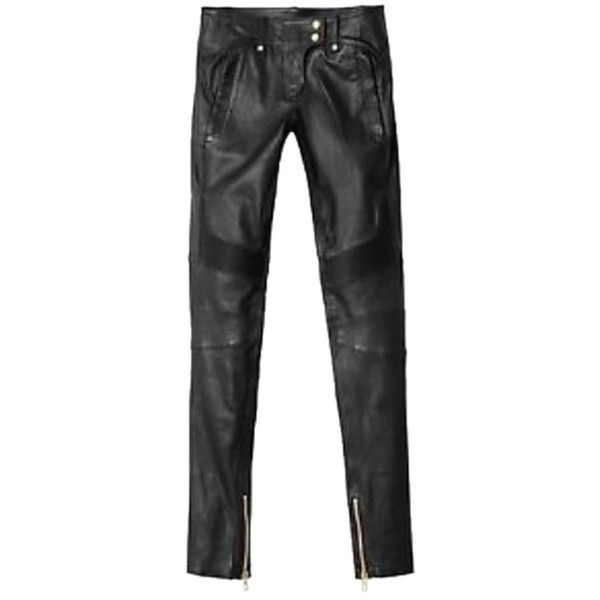 Pre-owned Balmain X H&m Leather Pants Skinny Jeans (€445) ❤ liked on Polyvore featuring jeans, blac, denim skinny jeans, balmain jeans, balmain, leather jeans and skinny leg jeans