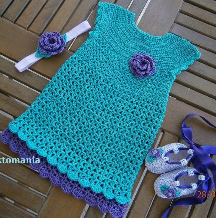 crochet baby dress https://www.facebook.com/plektomania25