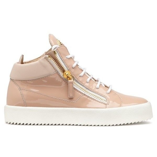 Giuseppe Zanotti Kriss ($375) ❤ liked on Polyvore featuring shoes, sneakers, pink, giuseppe zanotti trainers, rubber sole shoes, leather shoes, pink leather shoes and giuseppe zanotti shoes