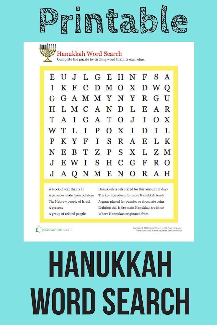 Hanukkah Word Search Worksheet Education Com Holiday Words Hanukkah For Kids Hanukkah [ 1102 x 735 Pixel ]