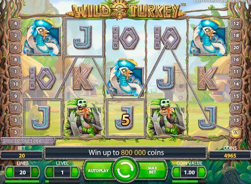 Слот машина Wild Turkey за истински пари онлайн. Wild Turkey –тази нова слот игра от NetEnt, което ви позволява да играете с незабавно изтегляне на пари и посветена на индийската култура. Тази онлайн слот не се различава по никакъв завладяваща история или нестандартен геймп