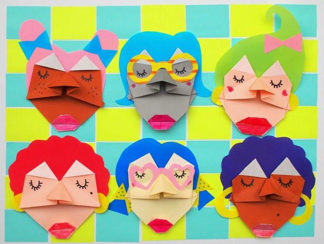 Paper Sculptures- Making Origami Faces with Kids!