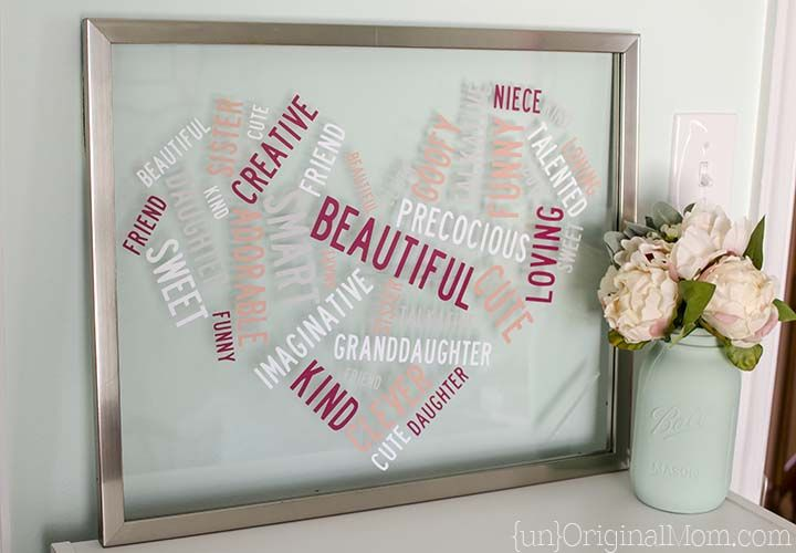 """Heart Shaped """"Word Cloud"""" Vinyl Word Art made with my Silhouette"""