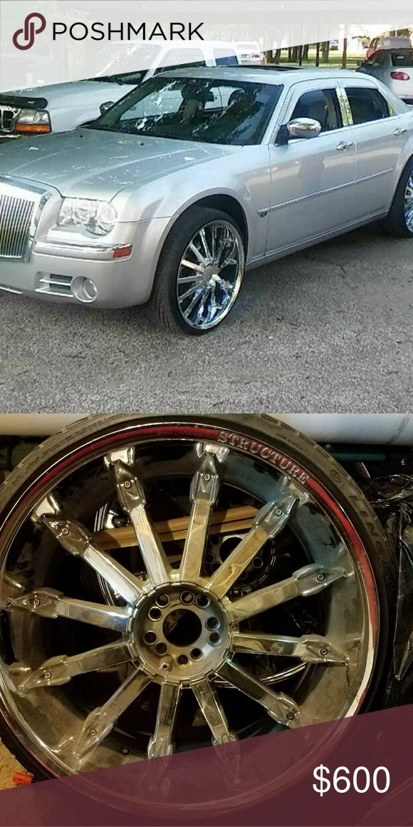 """24"""" Rims Brand name Structure need tires but in ex Made for Dodge/Crysler Jeep.. Structure Accessories"""