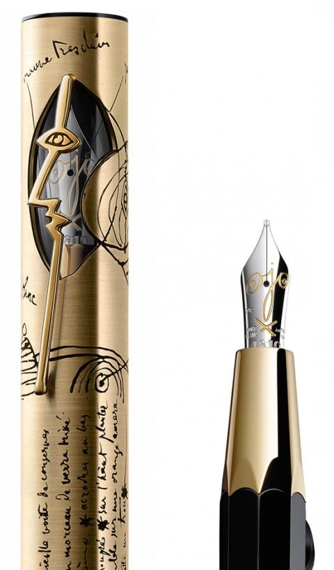 Montblanc Pablo Picasso Edition use of a metallic color gives it an antique look, also the handle is done in a creative way