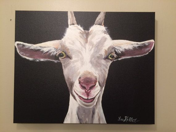 Goat on Canvas Goat art print from original by HippieHoundUSA